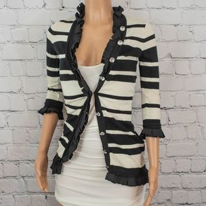 Anthropologie black and white striped cardigan